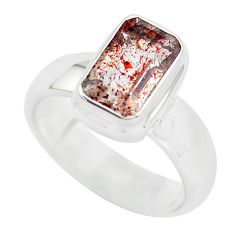 Faceted natural red strawberry quartz 925 silver solitaire ring size 8 p54329