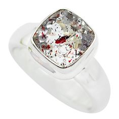 Faceted natural red strawberry quartz 925 silver solitaire ring size 8 p54330