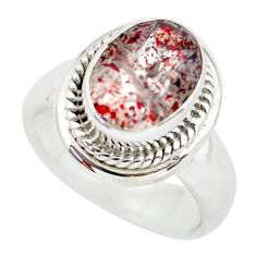 Faceted natural red strawberry quartz 925 silver solitaire ring size 6.5 p54332
