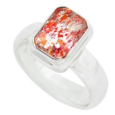 Faceted natural red strawberry quartz 925 silver solitaire ring size 6.5 p54334