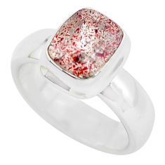 Faceted natural red strawberry quartz 925 silver solitaire ring size 8 p54338