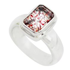 Faceted natural red strawberry quartz 925 silver solitaire ring size 5.5 p54490