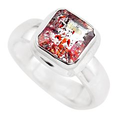 Faceted natural red strawberry quartz 925 silver solitaire ring size 6.5 p54492