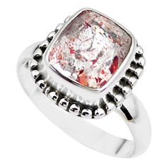 5.63cts faceted natural strawberry quartz silver solitaire ring size 8.5 p41759
