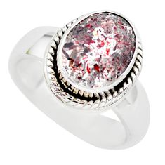 4.61cts faceted natural strawberry quartz silver solitaire ring size 6.5 p54494