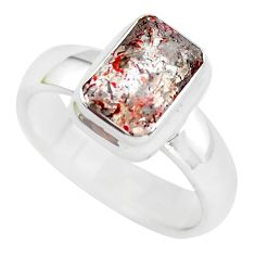 3.85cts faceted natural strawberry quartz silver solitaire ring size 9 p54497