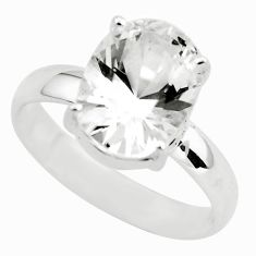 4.67cts faceted natural white goshenite 925 silver solitaire ring size 9 p54221