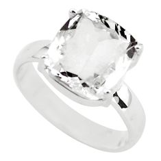 4.52cts faceted natural white goshenite 925 silver solitaire ring size 7 p54222