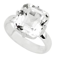 5.17cts faceted natural white goshenite 925 silver solitaire ring size 7 p54223