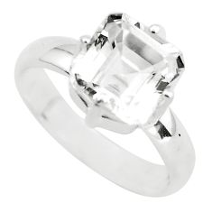 3.83cts faceted natural white goshenite 925 silver solitaire ring size 7 p54225