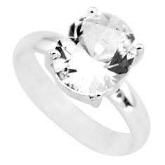 5.06cts faceted natural white goshenite 925 silver solitaire ring size 9 p54226