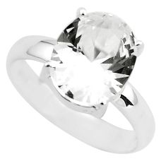 5.45cts faceted natural white goshenite 925 silver solitaire ring size 8 p54227