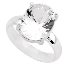 3.91cts faceted natural white goshenite 925 silver solitaire ring size 9 p54230