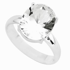 4.52cts faceted natural white goshenite 925 silver solitaire ring size 8 p54234