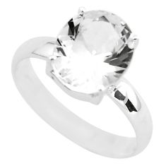 5.17cts faceted natural white goshenite 925 silver solitaire ring size 9 p54237