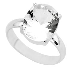 5.23cts faceted natural white goshenite 925 silver solitaire ring size 9 p54238