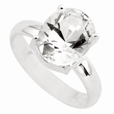 5.17cts faceted natural white goshenite 925 silver solitaire ring size 8 p54239