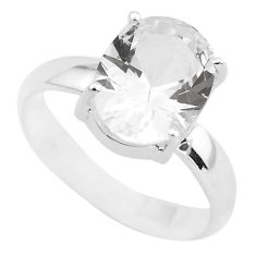 Faceted natural white goshenite 925 sterling silver solitaire ring size 8 p54354