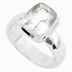 4.73cts faceted natural white pollucite 925 silver solitaire ring size 8 p54374