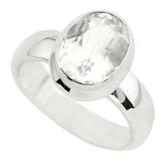 4.66cts faceted natural white pollucite 925 silver solitaire ring size 9 p54377