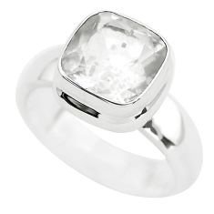 5.09cts faceted natural white pollucite 925 silver solitaire ring size 9 p54378
