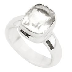4.21ct faceted natural white pollucite 925 silver solitaire ring size 6.5 p54380