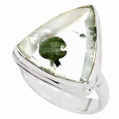 16.15cts faceted white marcasite in quartz silver solitaire ring size 7 p76431