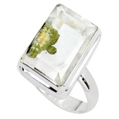 18.47cts faceted white marcasite in quartz silver solitaire ring size 8.5 p76432
