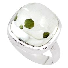 16.92cts faceted white marcasite in quartz silver solitaire ring size 8 p76433