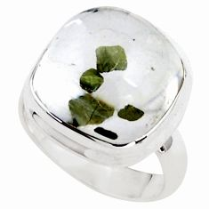 14.41cts faceted white marcasite in quartz silver solitaire ring size 6.5 p76437