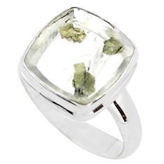 12.07cts faceted white marcasite in quartz silver solitaire ring size 8.5 p76439