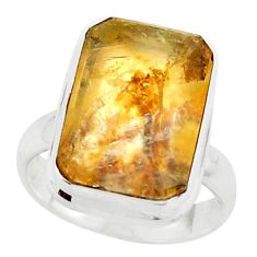10.64cts faceted yellow dendritic quartz silver solitaire ring size 6.5 p75926