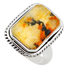 10.54cts faceted yellow dendritic quartz silver solitaire ring size 6.5 p75934