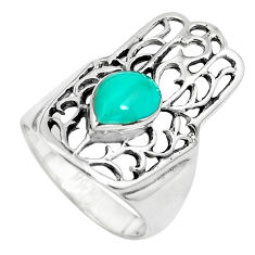 4.47gms fine blue turquoise 925 silver hand of god hamsa ring size 7 c1567