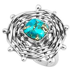 3.35cts fine blue turquoise 925 sterling silver solitaire ring size 8.5 p48388