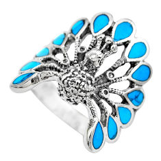 6.89gms fine blue turquoise enamel 925 silver peacock ring size 7.5 c2836