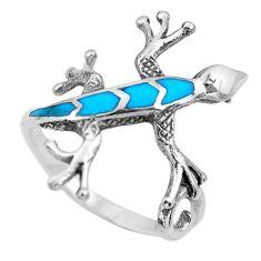 3.48gms fine blue turquoise enamel 925 sterling silver lizard ring size 8 c2524
