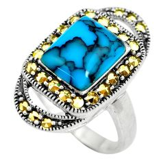 5.30cts fine blue turquoise marcasite 925 sterling silver ring size 8 c2755