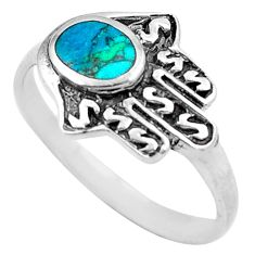 3.89gms fine green turquoise 925 silver hand of god hamsa ring size 9 c4169