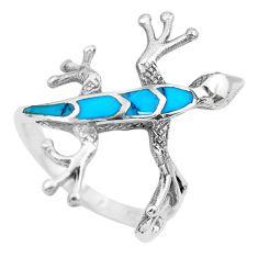 3.02gms fine green turquoise enamel 925 sterling silver lizard ring size 6 c2528