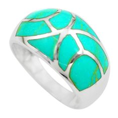 4.69gms fine green turquoise enamel 925 sterling silver ring size 8 c2529