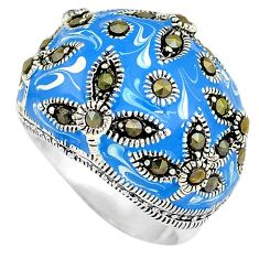 Fine marcasite blue enamel 925 sterling silver dome ring jewelry size 7.5 h52290