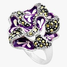 10.89gms fine marcasite enamel 925 sterling silver ring jewelry size 7 c4073