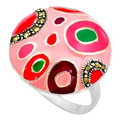 6.02gms fine marcasite enamel 925 sterling silver ring jewelry size 9 c4081