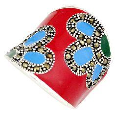 Fine marcasite multi color enamel 925 silver dome ring jewelry size 7.5 h52320