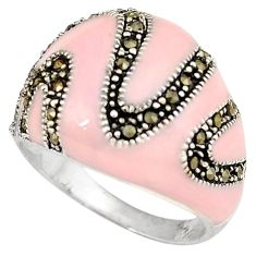 Fine marcasite pink enamel 925 sterling silver dome ring jewelry size 6.5 h52341