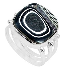 12.06cts fordite detroit agate 925 silver solitaire ring jewelry size 8.5 p33060