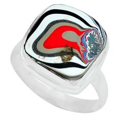 7.04cts fordite detroit agate 925 silver solitaire ring jewelry size 8 p69195