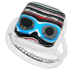 8.31cts fordite detroit agate 925 silver solitaire ring jewelry size 8 p69205