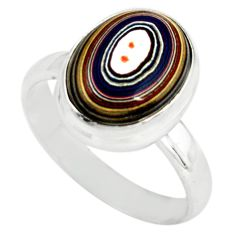 5.11cts fordite detroit agate 925 silver solitaire ring jewelry size 8 p79222
